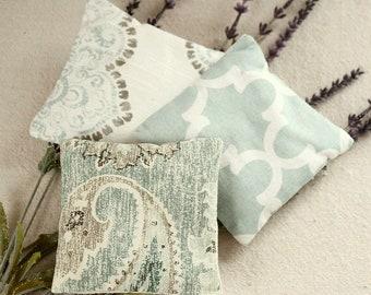 Blue Drawer Sachets - Blue Green Lavender Sachet Set - Blue Quatrefoil - Paisley - Damask - Lavender Scented Hostess Gift