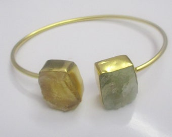 Raw Citrine Bangle - Gold Plated Bangle - Aquamarine Bangle - Two Stone Bangle - Adjustable Bangle - Rough Stone Bangle - Gift For Women