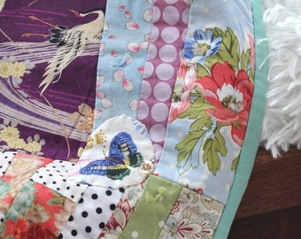 Charlie's Girlfriend, Asian Inspired, Modern Scrappy Quilt, Pink Purple Teal, Peonies, Throw Quilt