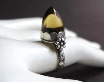 Bullet Gemstone Ring, Beer Bottle Quartz Ring, Artisan Brown Gemstone Ring, Gothic Style Sterling Silver Bullet Ring, Bullet Stone Ring