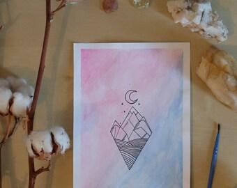 Handmade watercolor card, imaginary world