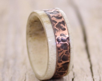 Antler men ring with copper inlay ring band ring unisex ring