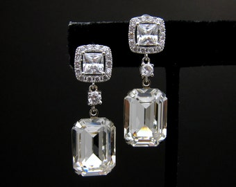 wedding jewelry wedding earrings bridal earrings Swarovski clear white vintage style rectangle square foiled crystal silver square cz post