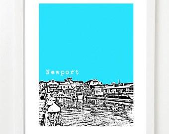 Newport, Rhode Island Skyline Poster - Newport RI Art Print - Newport Wedding - VERSION 2