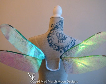 Dragonfly Iridescent Fairy Wings, small size wearable fairy wings, poseable fairy costume wings