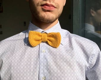 Bow tie knit barley yellow / yellow knitted bowtie