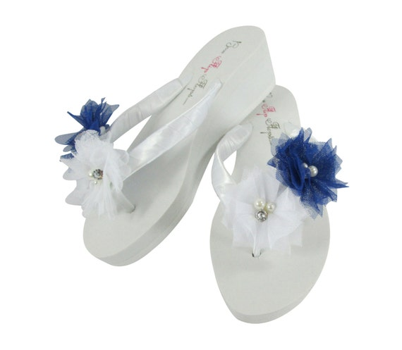 03afc5e67 Flower Flip Girl the Flower Blue Shoes for Bride Royal Sandals Bridesmaid  Wedding White Flops BPvwx0IFq ...