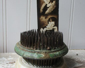 2 Vintage metal pin flower frogs needle flower holder floral arrangers Vintage farmhouse garden