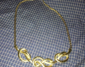 ON SALE Parklane Parklane necklace gold tone textured eternity knot home party co. choker 18.5 necklace costume jewelry vitage neckl & Parklane jewelry | Etsy