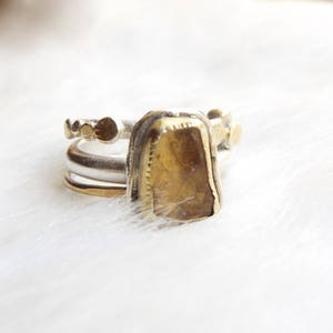 November birthstone- Stacking topaz ring- Silver and gold topaz ring- Birthday gift- Raw imperial topaz ring- Ethical ring- Stacking ring
