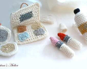 Crochet make up kit- Beauty crochet display set- Crochet lipstick, crochet cream tube, eyeshadow amigurumi- Fashion beauty set- teens gift
