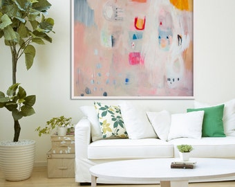 """print of painting, LARGE ABSTRACT GICLÉE, beige, pink, """" Hidden Snapshot 2"""""""