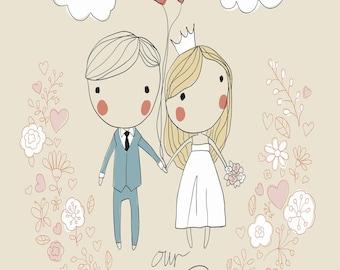 Orange Bride & Groom 40 Page Wedding Planner - Printable - Instant Download