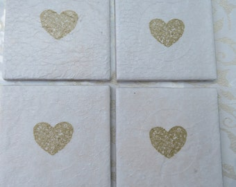 Ceramic decoupaged gold heart coasters