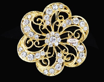 Gold Rhinestone Brooch Embellishment - Flatback - Rhinestone Broach - Brooch Bouquet - Supply - Wedding Jewelry Supply - RD242