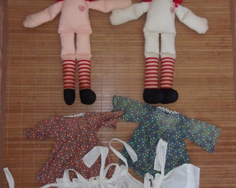 2 Vintage Raggedy Ann Cloth Dolls & Outfits