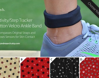 Paw Print Activity/Step Tracker 100% Cotton Ankle Band – Encompasses Original Straps and Exposes Sensors for Skin Contact