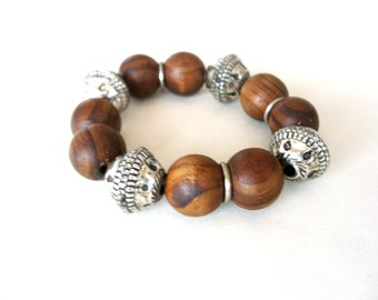 Vintage bracelet , Wood beads, Metal beads, Bracelet,1980s,stretch,Brown colour,Gift for her