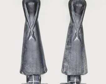 SOLD OUT-- Over-sized Charcoal Black Abstract Conical Hat Asian Female Figures Accents Home Decor Statues Sculpture