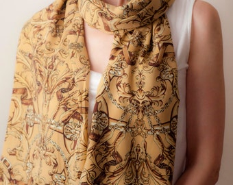 Beige Brown Scarf Wrap Classic Tube Scarf Long Oversized Scarf Shawl Vintage Inspired Unisex Women's Men's Spring Fashion Accessories