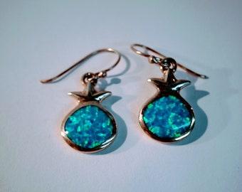 Silver, blue Opal, Pomegranate shape, drop Earrings, Jewish jewelry, Judaica jewelry. jewish earrings,