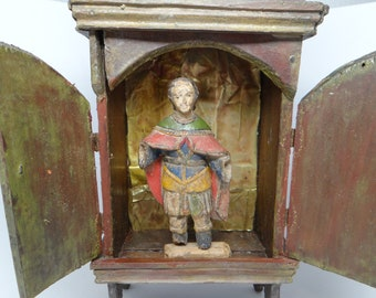 Early 1900's Mexican Nicho Altar Shrine with Santos, Hand Painted Hand Carved, Religious Shrine
