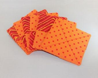 Orange & Red fabric coasters (set of 6)