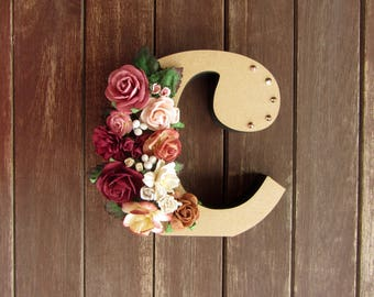 Floral Decorated Wooden Letter - lowercase c / wall nursery birthday wedding office decor