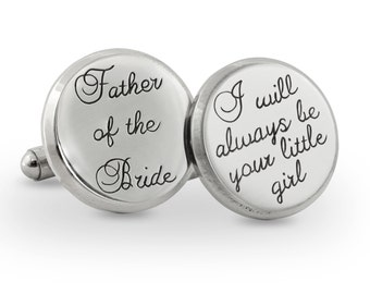 Father of the bride steel cuff link - father of the bride cuff link gift - engraved stainless steel cuff links - personalized wedding gift