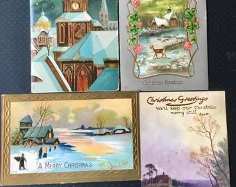 """4 Vintage Christmas Scenic Postcards Early 1900's """"Raphael Tuck"""""""