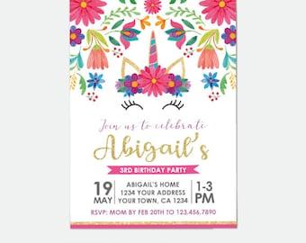 Unicorn Birthday Invitation, Fiesta Party Invitation, Floral Birthday Party, Personalized DIGITAL Invitations