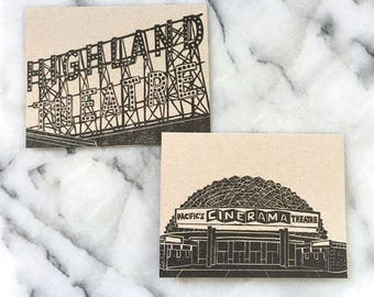Los Angeles Eastside Neighborhood Letterpress Greeting Cards, Set of 4