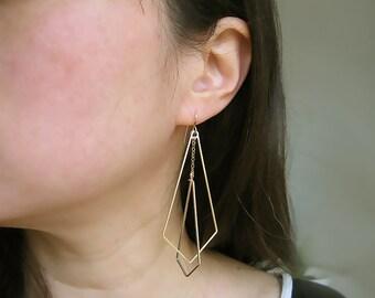 Gold Fan Earrings, art deco wedding, long geometric minimalist statement - Interlocking Arrows Up Large