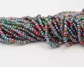 8/0 Charlotte One Cut  Czech Glass Seed Bead  Transparent Luster Mix  3 Strands