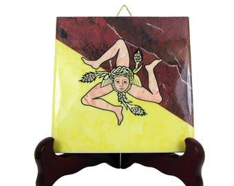 Trinacria - Sicily - ceramic tile handmade in Italy - Sicilian Trinacria - Trinacria symbol - Trinacria of Sicily
