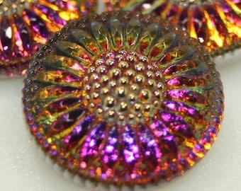 Czech Glass Button 27mm Daisy Flower
