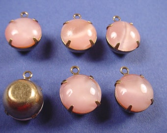 4 Vintage Pink Moonstone Drops 11mm 1 Ring Closed Back  Brass Ox