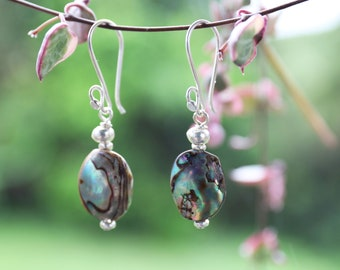 Paua Shell and Thai Hill Tribe Silver Earrings - Handmade Jewellery - Shell and Silver Jewellery