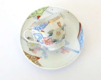 SALE! Vintage Demitasse Teacup & Saucer. Pink, White Flowers. Light Blue Ribbons. Shabby Chic. Cottage Chic. Hand Painted. Gold. Porcelain