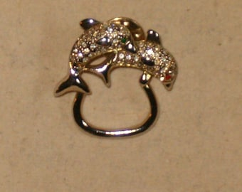 Vintage Signed P835 Silver Tone And Rhinestone Double Dolphin Jumping Over A Hoop Pin/Brooch