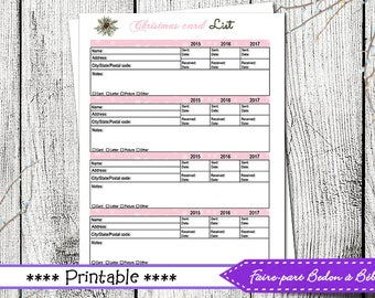 Christmas card list - printable list - printable Christmas list - Digital printable