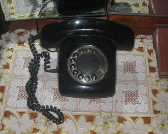Vintage black phone of the USSR Period.