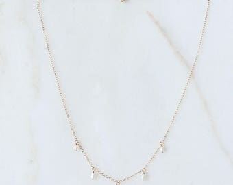 Dangle Pearls necklace | Five genuine fresh water pearls | 14k gold filled & sterling silver