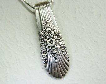 Vintage Spoon Necklace, Spoon Pendant, 'Silver Mist' aka 'Marigold' 1939, Silverware Jewelry