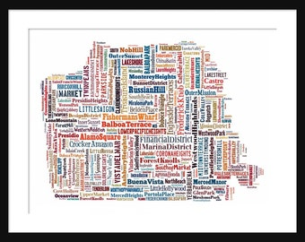 San Francisco Map Multi Color Typography Map Poster Print