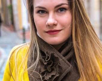 Winter scarf. Wool scarf. Button scarf. Womens scarf. Fabric neckwarmer. Fashion scarf. Trendy scarf. Button cowl. French fashion scarf.