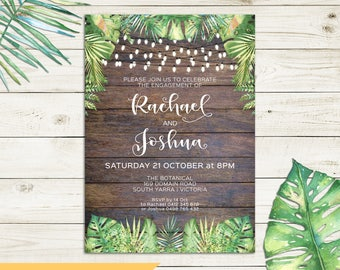 Rustic invitation, tropical invitation, engagement invitation, wedding, string lights, wood background, watercolour palm leaves, printable