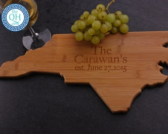North carolina gift etsy north carolina state shaped cutting board personalized wedding moving new home house housewarming closing unique gift negle Images