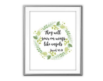 SALE-They Will Soar On Wings Like Angels- Art Print - Wall Art Designs- Gallery Wall- Quote Prints-House Warming Gift Gift-Bible Verse Print