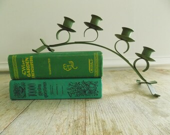 Vintage Green Metal Arched Candle Holder | Mid Century Taper Candle Holder